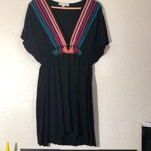 Retro striped tassel dress
